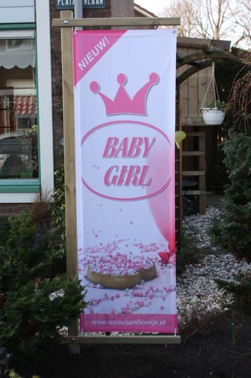 boondesigns geboorte-aankondigingen banier in houten frame baby girl meisje roze