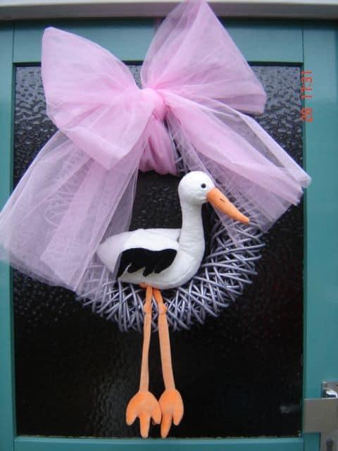 boondesigns geboorte-aankondigingen deurhanger ooievaar roze meisje