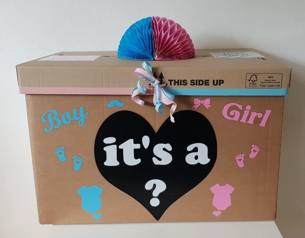 boondesigns geboorte-aankondigingen gender reveal box