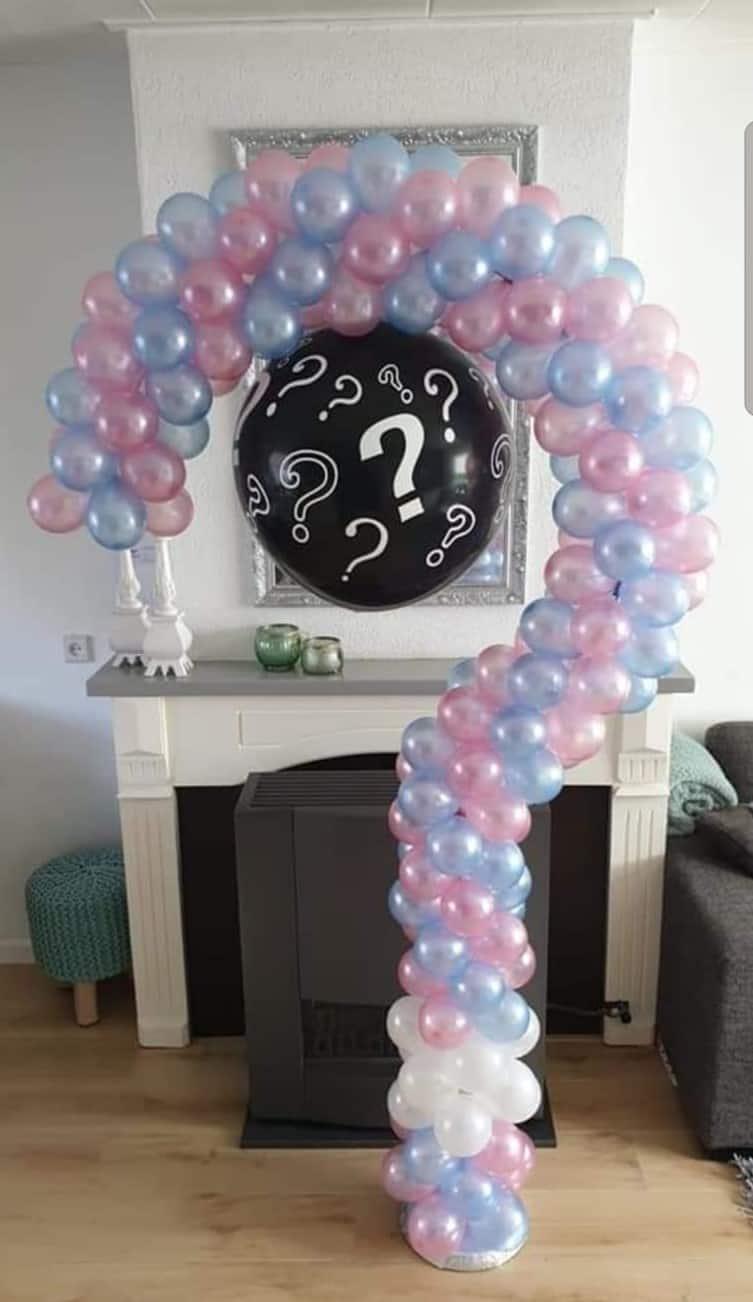 boondesigns geboorte-aankondigingen gender reveal ballon vraagteken