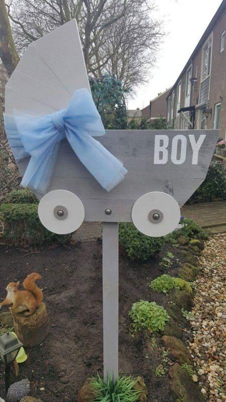 boondesigns geboorte-aankondigingen steigerhouten kinderwagen jongen