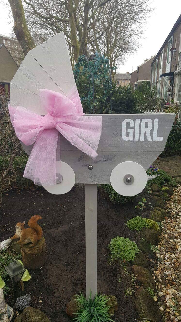 boondesigns geboorte-aankondigingen steigerhouten kinderwagen meisje