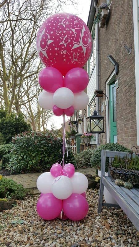 boondesigns ballondecoraties verjaardag ballon pilaar 18 jaar