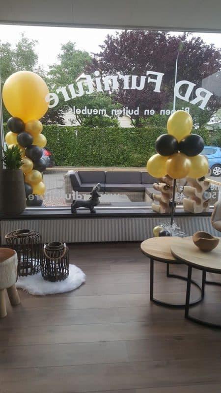 boondesigns bedrijfsopening ballonboompje goud/zwart