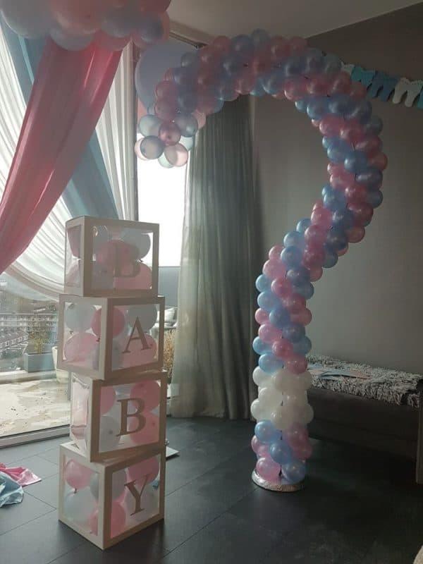 boondesigns gender reveal party ballondecoratie vraagteken roze/blauw