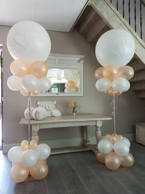 boondesigns ballondecoraties huwelijk ballonboompje wit/rose/gold