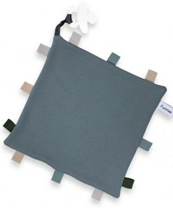 labeldoekje speen grey blue 100% katoen 25x25cm