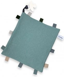 labeldoekje speen stone green 100% katoen 25x25cm